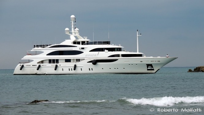 56m Benetti superyacht ANNAEVA (ex Lady Sheila) in Livorno, Italy - Photo by Roberto Malfatti