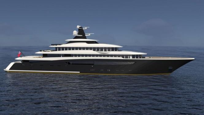 87m mega yacht ARAGONESE concept - side view