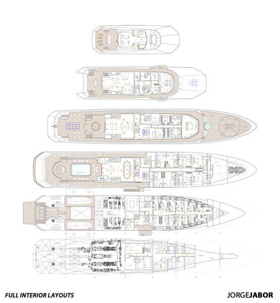 ARAGONESE superyacht concept - Full Interior Layouts