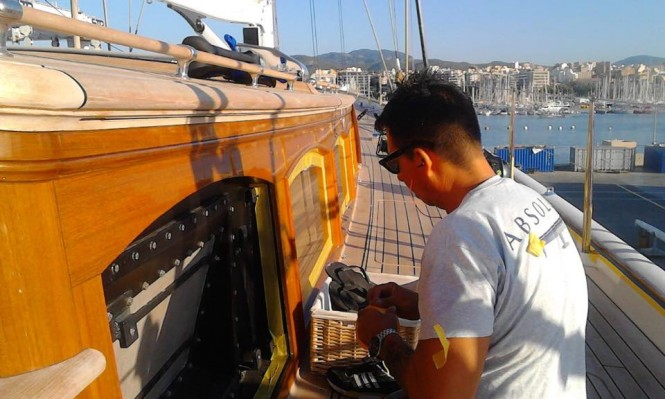 Absolute Boat Care team working on ELFJE Yacht