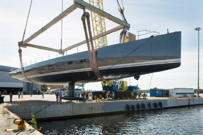 Baltic 115 Custom Yacht at launch - Photo by Mats Sandstrom