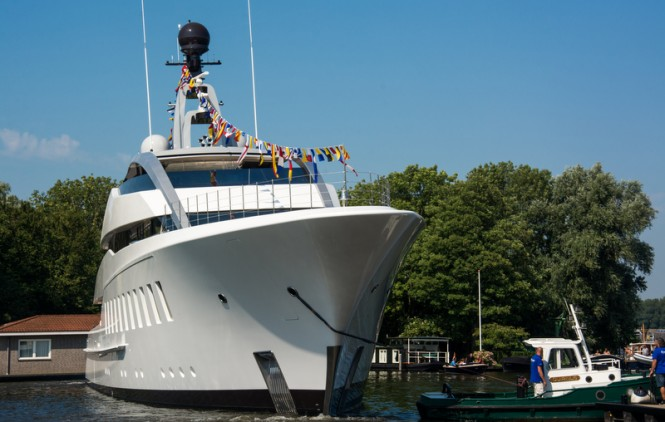 Luxury motor yacht HALO at launch