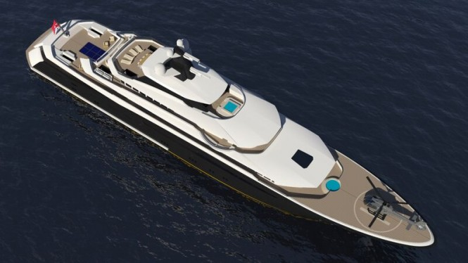 Luxury yacht ARAGONESE concept from above
