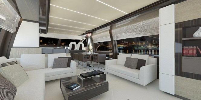 Luxury yacht Azimut 72 - Saloon