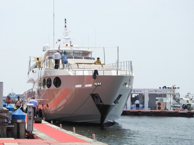 Luxury yacht Majesty 105 by Gulf Craft at the 2015 Indonesia Yacht Show