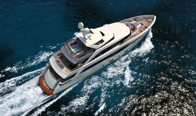 Luxury yacht SERENITY from above