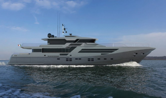 Motor yacht Explorer 40M Wide Bow - side view