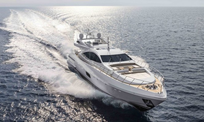 Second Mangusta 110 Yacht at full speed - Photo credit to Overmarine Group