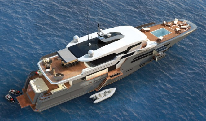 Superyacht Explorer 40M Wide Bow from above