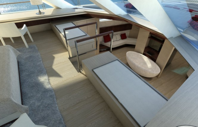 Two-level Owners Cabin aboard SERENITY superyacht