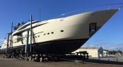 46M Palmer Johnson superyacht VANTAGE at Oceania Marine North Shipyard, Port Whangarei, New Zealand