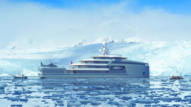 90m DAMEN SeaXplorer superyacht support vessel in Antarctica