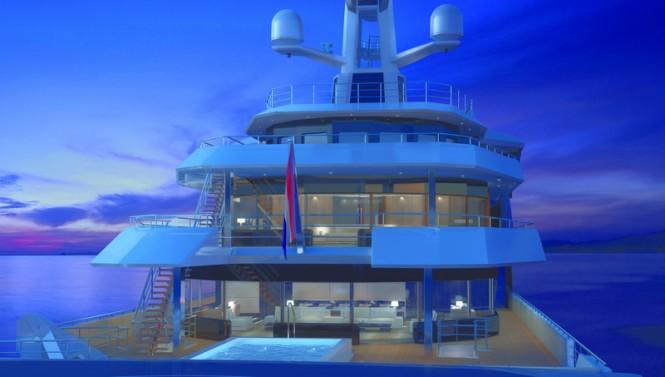 90m DAMEN SeaXplorer yacht - aft view