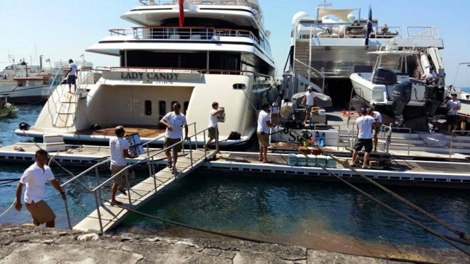 Benoa Harbor in Indonesia - loading superyacht