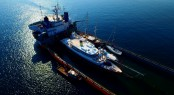 Classic 160 motor yacht CLARITY being loaded onto a cargo ship