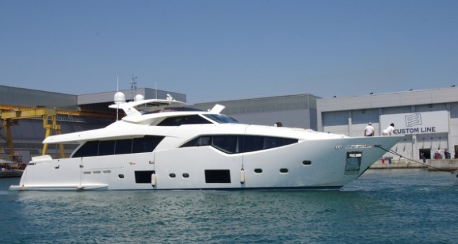 First Custom Line 108 superyacht on the water