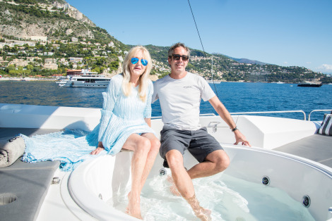 Liz Brewer and Gregers Andersen aboard superyacht ZULU