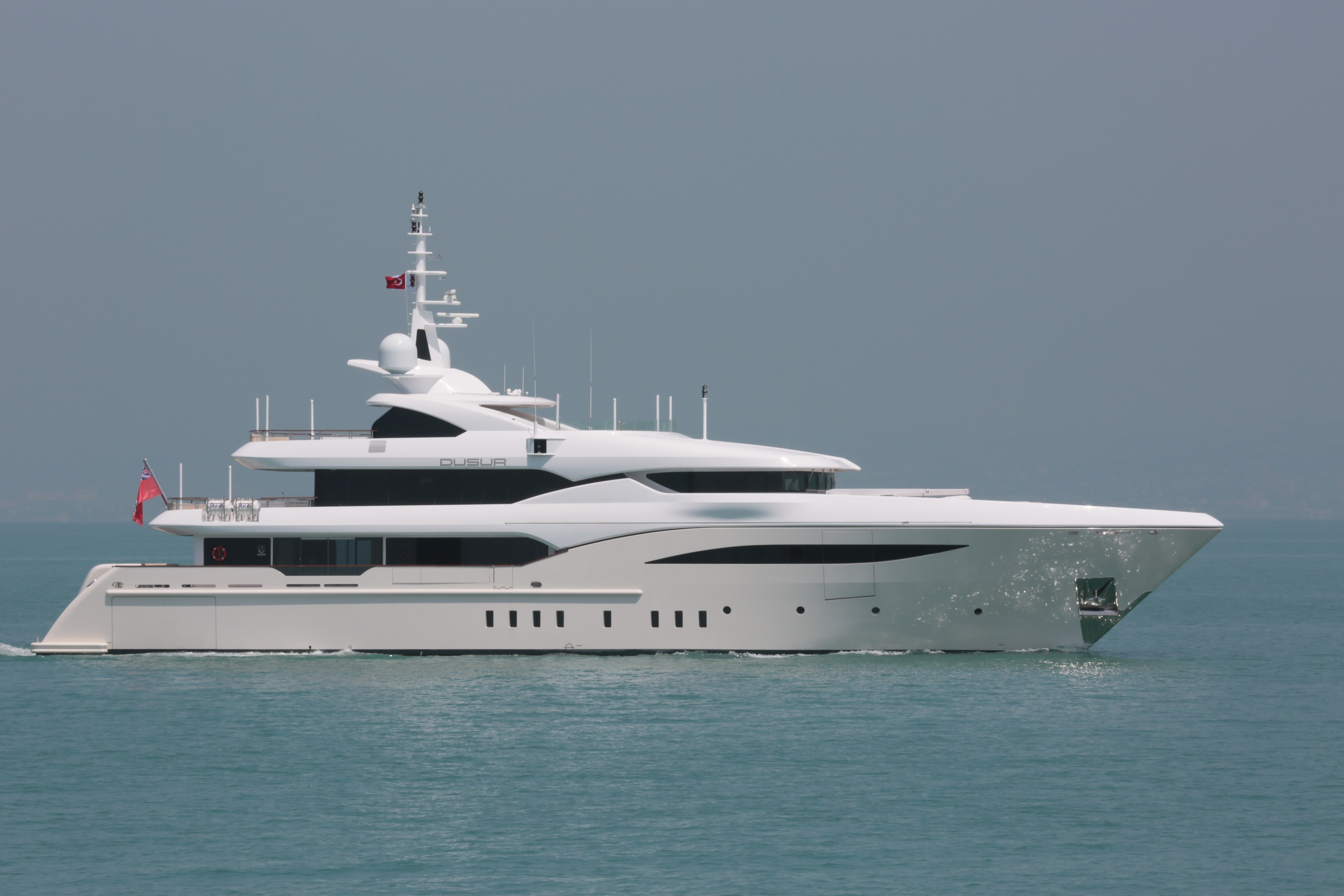 Luxury Motor Yacht Dusur Side View Yacht Charter