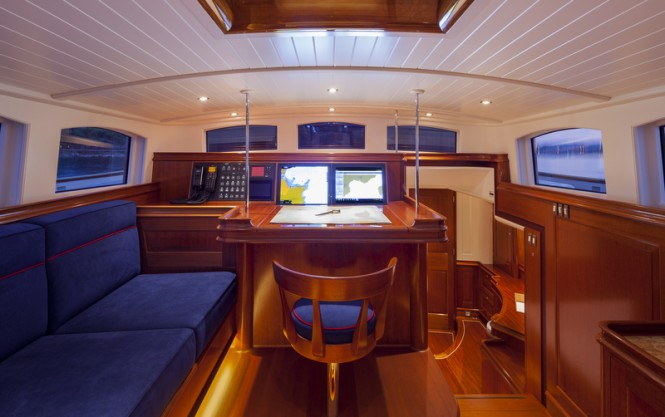 Luxury yacht ATALANTE - Aft Deck - Wheelhouse - Photo by Silken