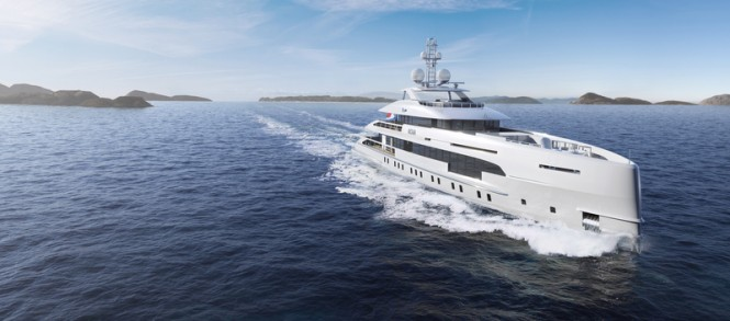 Rendering of 50m Heesen Yacht NOVA underway