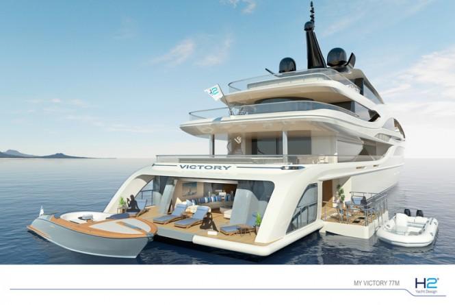 77m mega yacht VICTORY concept - Beach Club