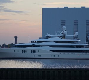 Mighty 78m Abeking & Rasmussen Motor Yacht EMINENCE spotted at her home yard