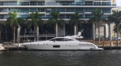 All-new Mangusta 94 Yacht Hull no. 3 in Miami, Florida - Image credit to Overmarine Group Mangusta