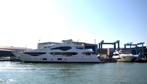 First Sunseeker 131 Yacht on the water at the Sunseeker shipyard in Poole, Dorset, UK