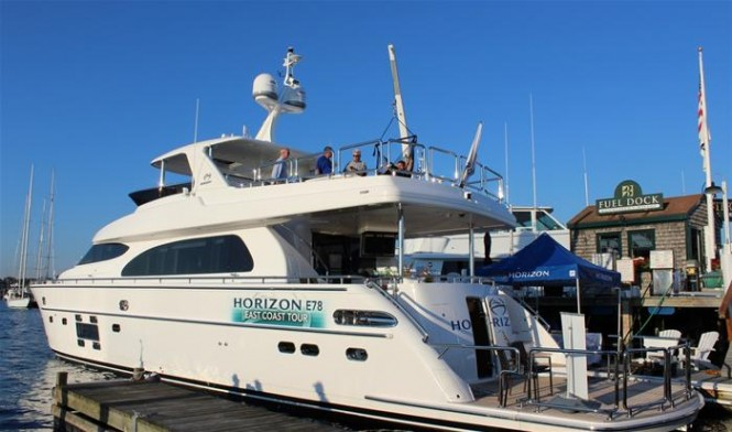 Horizon E78 Yacht on display at the 2015 Newport International Boat Show
