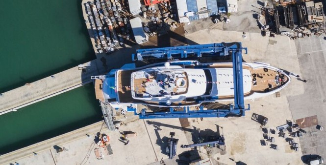 Launch of GENESI Yacht from above