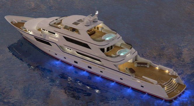 Luxury yacht EVOLUTION concept by night