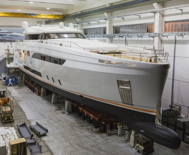 New WIDER 150 Yacht GENESI ready to leave her shed