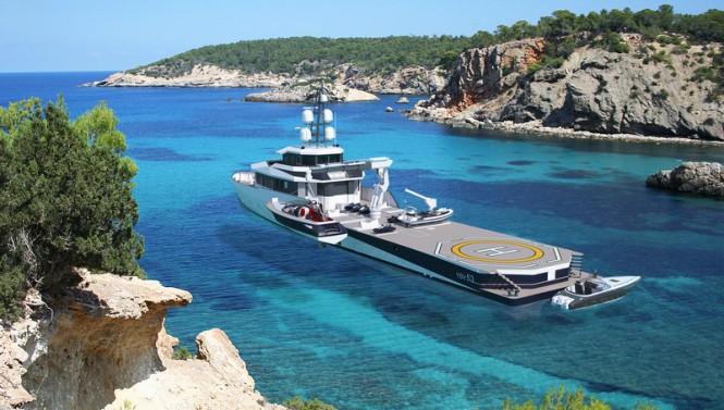 PIRIOU YSV 53 luxury yacht support vessel - aft view - Image credit to PIRIOU
