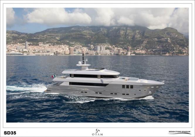 Rendering of first Otam SD35 superyacht GIPSY
