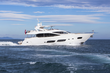 Sunseeker 28 Metre Yacht BANDAZUL on display at the 2015 Barcelona Boat Show