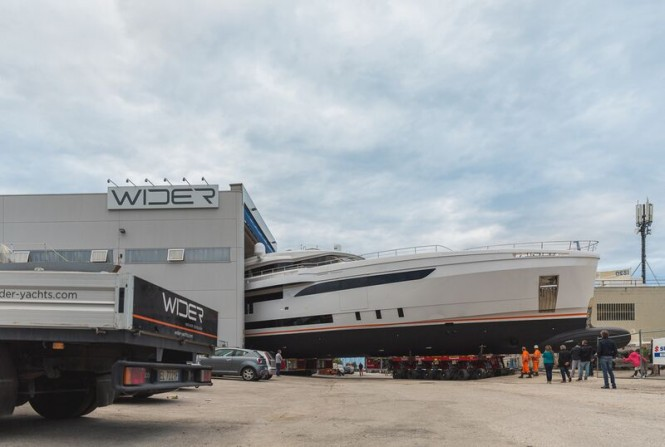 Superyacht GENESI leaving her shed