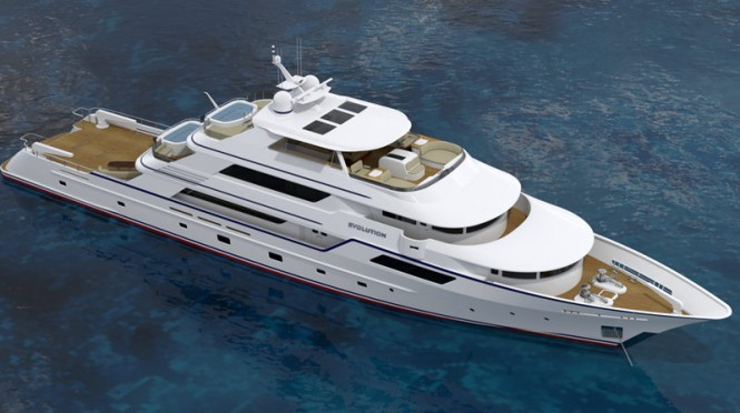 The private yacht profile of the 50m EVOLUTION yacht design