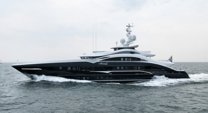 50m HEESEN motor yacht ANN G (YN 17350) underway - Photo by Dick Holthuis