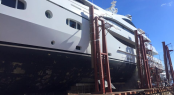 55m superyacht TURQUOISE at Port Denia Shipyard being prepared for her next superyacht charter season