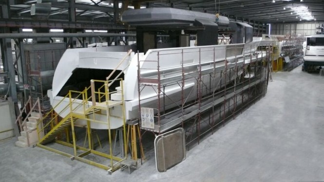 Arcadia 100 motor yacht Hull no. 1 in build