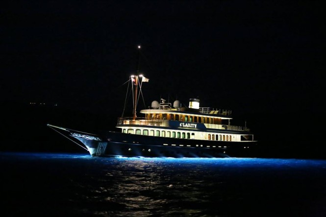 Classic yacht CLARITY by night