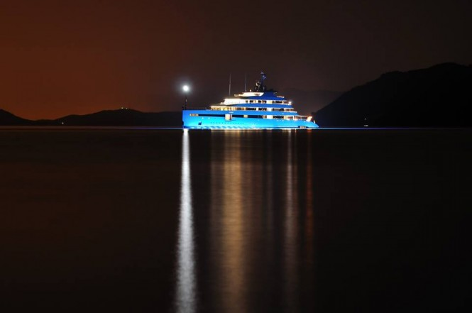 Feadship Mega Yacht SAVANNAH (hull 686) at night in the beautiful Gocek yacht holiday location - Photo by Mustafa Ozdemir and Feadship Fanclub