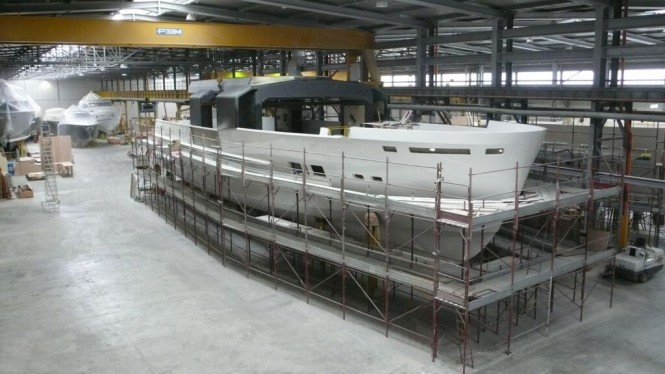 First Arcadia 100 superyacht under construction