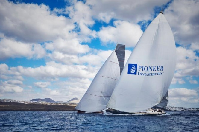Jean-Paul Riviere's Finot 100 Yacht Nomad IV and the Southern Wind 94 Yacht Windfall enjoy a close battle at the start - Photo credit to RORC James Mitchell