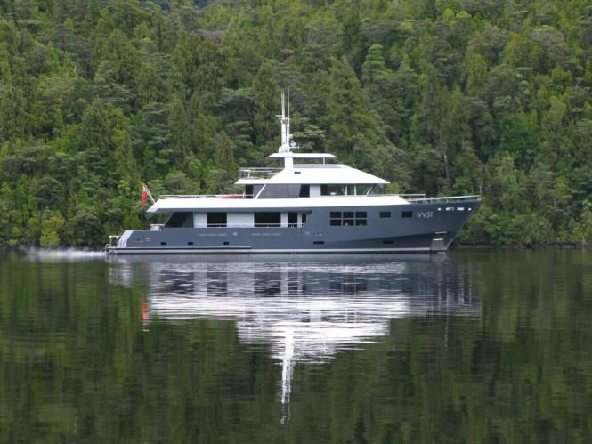 Luxury Charter Yacht VvS1 in Fiordland - Photo by Michael Eaglen (McMullen & Wing)