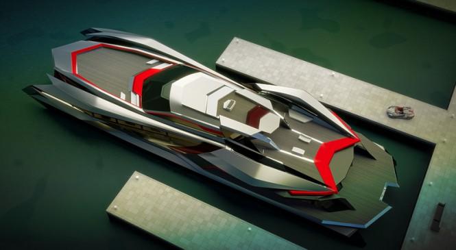 Luxury catamaran KRAKEN concept from above