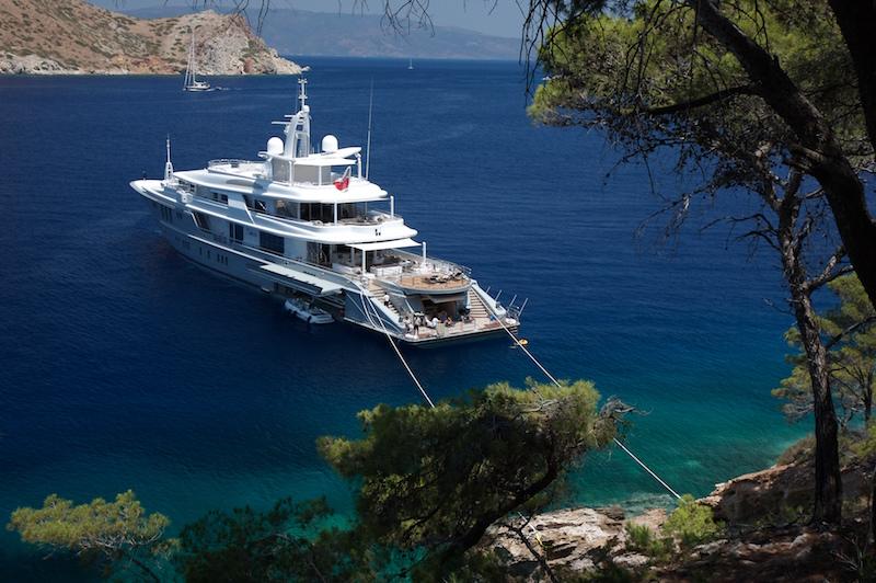 Luxury Mega Yacht SIREN At Anchor