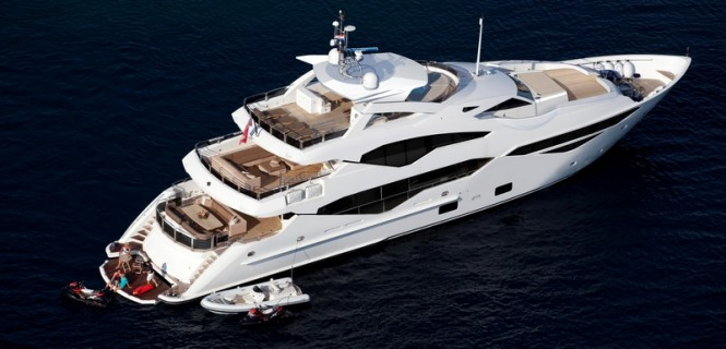 Luxury motor yacht 'Sunseeker 131 Yacht' from above