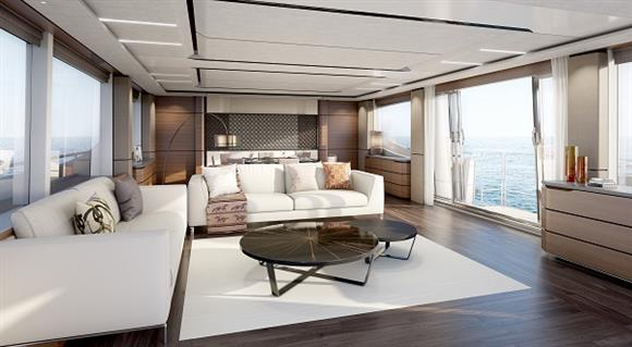 Luxury yacht Princess 30M - Saloon with drop-down balcony