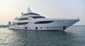 Majesty 135 Yacht by Gulf Craft arrives in Lusail Marina Doha Qatar